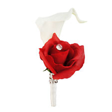 Boutonniere-Real Touch calla lily Red fabric silk rose-Pin included