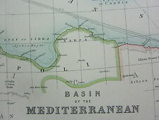 1910 MAP ~ BASIN OF THE MEDITERRANEAN MALTESE ISLANDS ALGERIA ITALY TURKEY