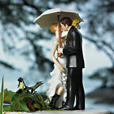 Showered With Love Romantic Couple Under Umbrella Wedding Cake Topper