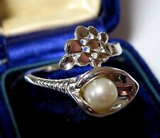 Vintage Art Nouveau Style 925 Sterling Silver Real Pearl Lily Jewellery RING