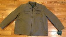 NWT Mens Khaki G.H. BASS & CO. Canvas Utility Full Zip Jacket Coat Size 2XL XXL