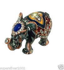 BEJEWELED RHINESTONE CRYSTAL ENAMEL TRINKET BOX ELEPHANT BLACK + GIFT BOX