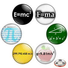 "Math & Science Geek 1.25"" Pinback Button BADGE SET Novelty Pins Nerdy Geeky Gift"