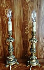 Antique 2 Table Lamps Wooden Whit Gold Paint French Style