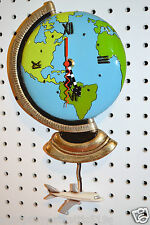 WHIMSICAL  EARTH GLOBE AIRPLANE CLOCK,MICHELLE ALLEN DESIGNS  SHIPS IN 24 HOURS