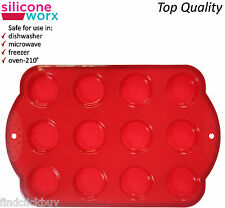 Silicone Mini Muffin Tray 12 Cup Baking Cup Cake Pudding Mould Non-Stick