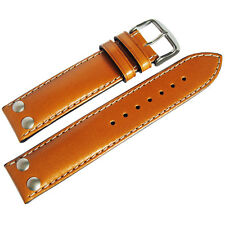 22mm Di-Modell Ikarus Mens Tan Leather Riveted Pilot German Watch Band Strap
