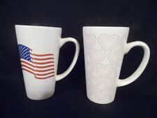 """TWO 6"""" tall 16 ounce DOUBLE CUP Coffee Mugs- USA Flag & Heart decorated"""