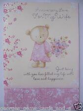 De lujo grande de 3 Página Brillo recubierto todo Color esposa Aniversario tarjeta de saludo