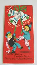 Vintage Unused 50's Christmas Card Jingle Bells How To Play With Glasses