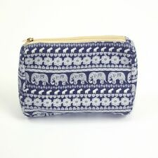 New Navy Blue Elephant Print Cosmetic Make Up Wash Bag