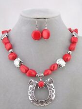 Red Silver Bead Horseshoe Pendant Necklace Earrings Set Fashion Jewelry NEW