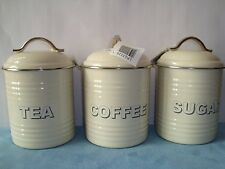 SET 3 CREAM TEA COFFEE SUGAR CANISTERS STORAGE CADDIES JARS  ENAMEL BY LEONARDO