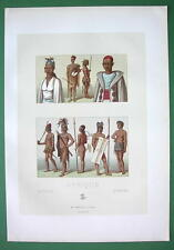AFRICA Costume of Timbuctoo Natives Arabs Moors - COLOR Print A. Racinet