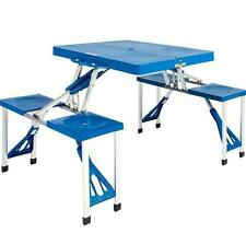 PROGEN PORTABLE OUTDOOR PLASTIC FOLDING PICNIC TABLE CAMPING WITH 4 SEATS SET