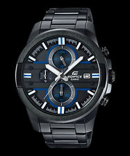 EFR-543BK-1A2 Black Blue Casio Edifice Men's Analog Watches 100M Steel Band New