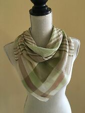 Vintage Echo Colorful Tan, Green and Brown Plaid 31 x 31 Sheer Silk Scarf