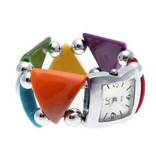 Women's Wrist Watch Bracelet Square Dial Elastic Colorful Acrylic Band