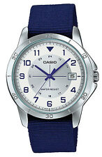 Casio MTP-V008B-7B Men's Standard Blue Military Fabric Band Analog Date Watch
