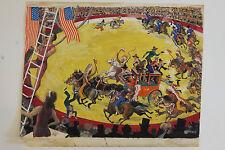 """""""L'attaque des Indiens"""", scène de cirque, Gouache de Pierre Rousseau, vers 1950"""