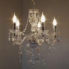 Lampadario Lampada da soffitto 5 luci Chandelier Classico Cromato Vetro NEW 9845