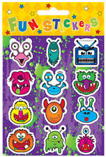 6 Monster Sticker Sheets - Pinata Toy Loot/Party Bag Fillers Kids