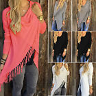 Ladies Tassel Fringe Sweater Shawl Hem Knit Cardigan Asymmetric Dress Jumper Top