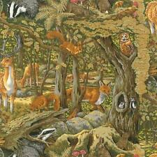 Fat Quarter Friends Of The Forest Autumn Cotton Quilting Fabric  UK Animals