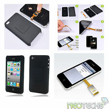 DUAL SIM CARD ADAPTER & BACK CASE FOR APPLE iPHONE 4 4G