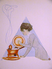 Coles Phillips GIRL COOKING a STEW in the KITCHEN 1911 Antique Art Print Matted