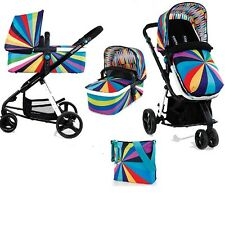 New Cosatto giggle 2 3 in 1 combi in go brightly with bag footmuff & raincover