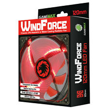 Game Max Windforce 4 x Red LED 12CM PC Cooling Fan 3-pin & 4-Pin Molex 120mm