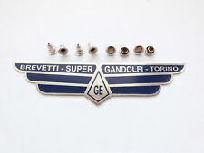 Super Gandolfi Blue Colour Etched Stainless Steel Seat Badge + Rivet Ulma Vigano