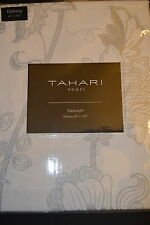 "TAHARI TABLECLOTH 60X102"" WHITE W/SILVER DESIGN CHRISTMAS HOLIDAY TABLE CLOTH"