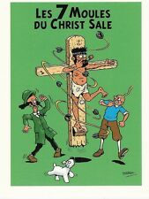 RARE STERNIC CARTE POSTALE SIGNÉE PARODIE TINTIN : LES 7 MOULES DU CHRIST SALE