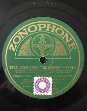 """RARE 78RPM 12"""" ZONOPHONE LIGHT OPERA COMPANY VOCAL GEMS FROM THE MIKADO PT 1/2"""