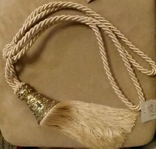 "New 9"" Ivory Tassel 18"" Long Double Cord Drapery Ornate Filigree Gold Metal Top"