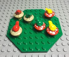 Lego New MOC The Hobbit Mushroom Plants And Frogs Forest W/ Octagon Green Plate