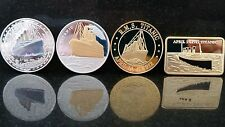 4x TITANIC 1912 RMS Bar Coin SET Collection Flag Boat Ship Route Gold Belfast