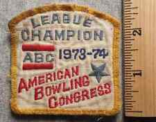 AMERICAN BOWLING CONGRESS LEAGUE CHAMPION 73-74 PATCH (BOWLING, PINS, BALL)