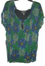 Sweet INC Macys 1X Flattering Top w/Green, Blue, Black Flower Print! Ruffle Neck