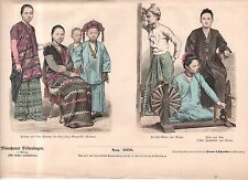 1886 Chromo Fashion print Burma Men, women, children and slaves