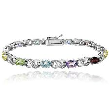 5.5ct Silver Tone Multi Colored and Diamond Accent Infinity Bracelet, 8""