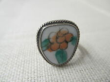 Vintage PB 925 Sterling Ring hand painted Flower on stone