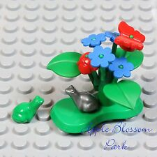 NEW Lego Minifig LILY PAD Green Plant w/Red Beetle Butterfly Blue Flower Frog