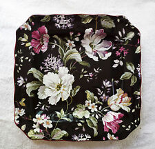 RARE BLACK CHINTZ 222 FIFTH GISELA SQUARE DINNER PLATE & SALAD PLATE NEW HTF