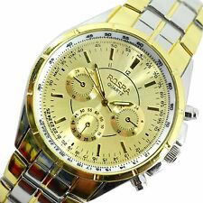 GENTS LUXURY BUSINESS GOLD DIAL CHRONOGRAPH DESIGN TWO TONE GOLD STEEL WATCH