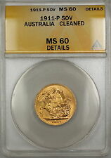 1911-P (Perth) Australia Sovereign Gold Coin ANACS MS-60 Details Cleaned SB