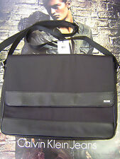 CALVIN KLEIN MEN'S COTTON NYLON & SYNTHETIC LEATHER MESSENGER BAG BLACK
