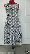 NEW HANDMADE BLACK WHITE MONOCHROME HOLLYWOOD ART DECO A-LINE DRESS UK 10-12